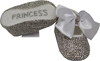 Mini Plum Baby Girls Personalized Christening Baptism Swarovski Crib Shoes