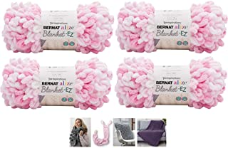 Bernat Alize EZ Blanket Yarn Bundle 100% Polyester 4 -Pack White & Pink Plus 4 Patterns