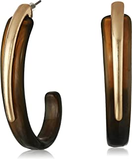 Robert Lee Morris Soho Gold Sculptural Open Hoop Earrings, Black, One Size