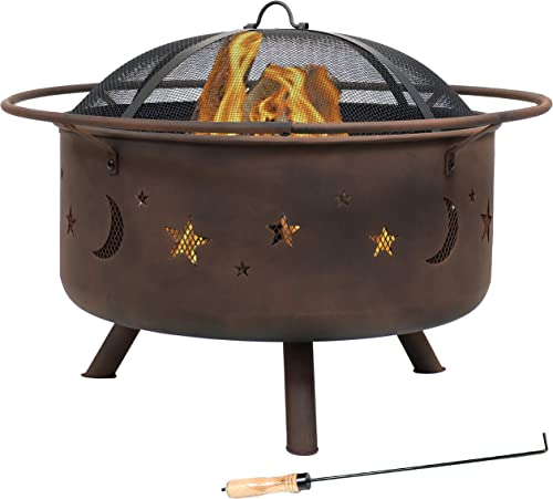 high quality Sunnydaze Cosmic Outdoor Fire Pit outlet sale - 30 Inch Round Bonfire Wood Burning Patio & Backyard Firepit for outlet online sale Outside with Cooking BBQ Grill Grate, Spark Screen, and Fireplace Poker, Celestial Design online