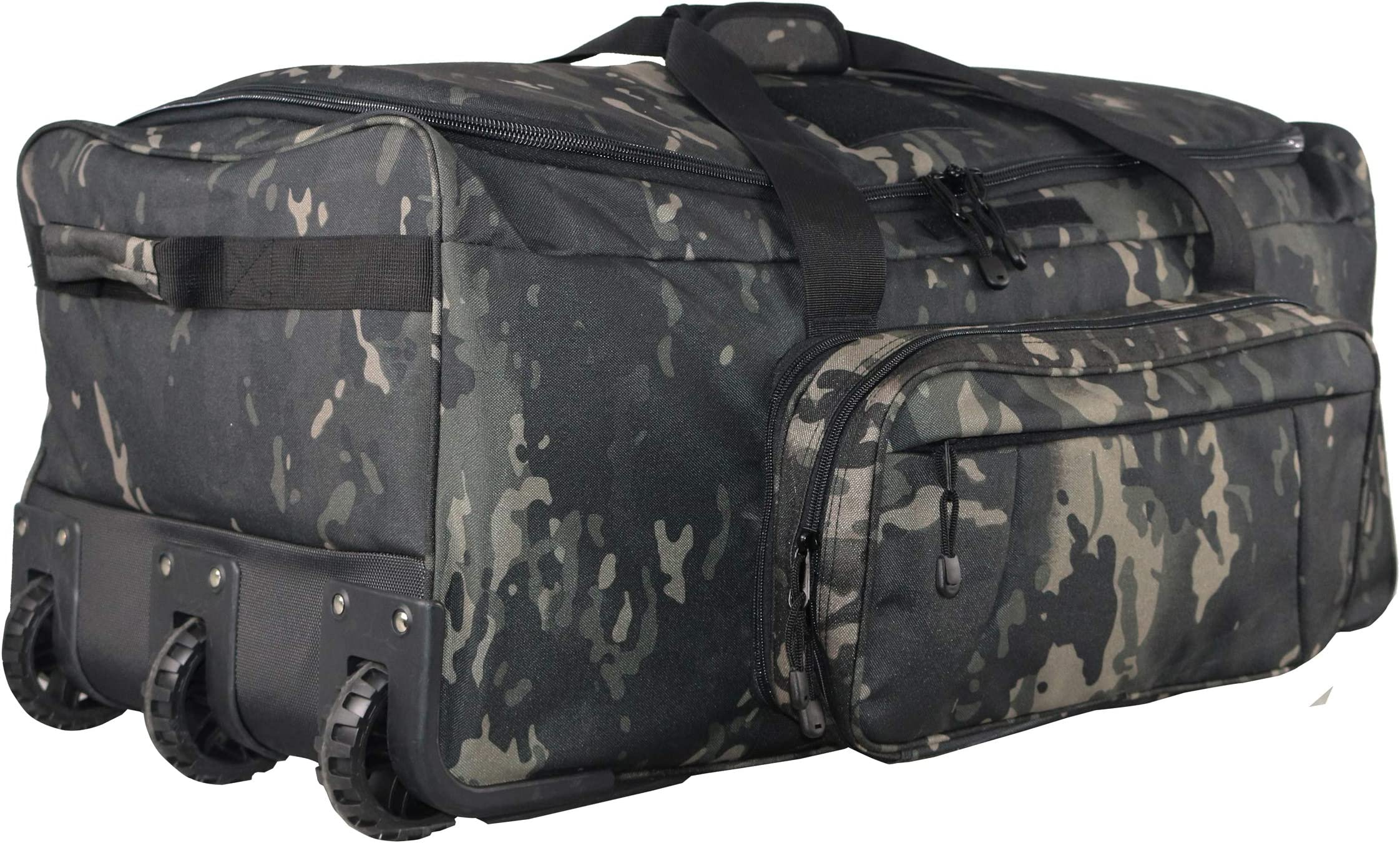 ARMYCAMO Military Tactical Wheeled Deployment Trolley Duffel Bag Heavy-Duty Camping Hiking Running Trekking