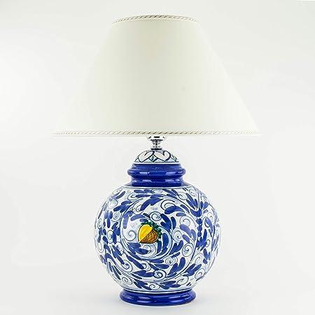 Lume In Ceramica Di Caltagirone Blu Decorato A Mano Lampada Da Tavolo Ceramica Siciliana Amazon It Illuminazione
