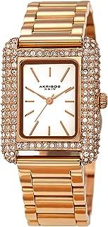 Akribos XXIV Swarovski Crystal Rectangle Watch - 200 Swarovski Crystals On Bezel On Stainless Steel Polished Link Bracelet - AK1108