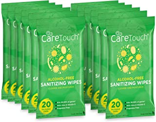 Care Touch Alcohol-Free Hand Sanitizing Wipes - 12 Pouches, 240 Wipes - Moisturizing Hand Wipes with Vitamin-E and Aloe Ve...