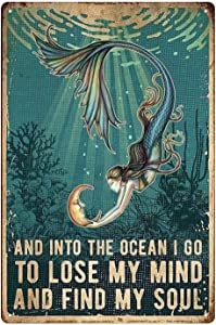 Yepzoer Metal Tin Sign Mermaid,to Lose My Mind and Find My Soul Art Bedroom Poster Bathroom and Room Retro Iron Painting Wall Cafe Home Poster 8x12 inch