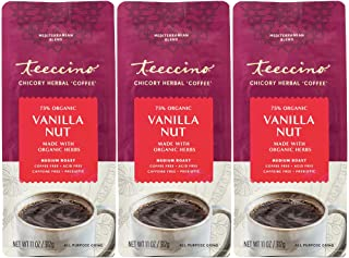 Teeccino Chicory Coffee Alternative – Vanilla Nut – Ground Herbal Coffee That's Prebiotic, Caffeine-Free & Acid Free, Medi...