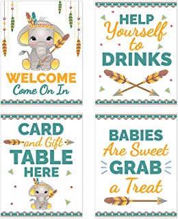 Gender Neutral Elephant Baby Shower Table Decorations Signs Yellow - Centerpiece Decor Supplies for Boys or Girls