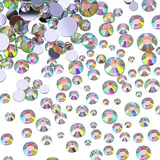 Outus Flatback Rhinestones Round Crystal Flat Back Gems, 4 Mix Sizes, 800 Pieces