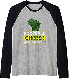 Wisconsin Football Cheese & Blizzards Funny WI Cheesehead Raglan Baseball Tee