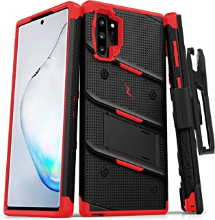 ZIZO Bolt Series Samsung Galaxy Note 10 Plus Case | Heavy-Duty Military-Grade Drop Protection w/Kickstand Included Belt Clip Holster Lanyard (Black/Red)