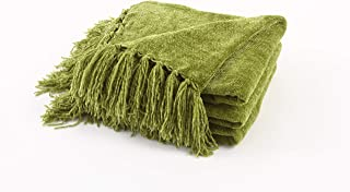 Freshmint Christmas Throw Blanket 60 x 50 Inch Luxury Fluffy Chenille Knitted Blankets with Decorative Fringe and Striped ...