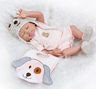 NPK Reborn Baby Dolls Girls Silicone Full Body Lifelike Reborn Doll Sleeping Anatomically Correct Washable Toy Doll Reborn Babies 20inch 50cm Pink
