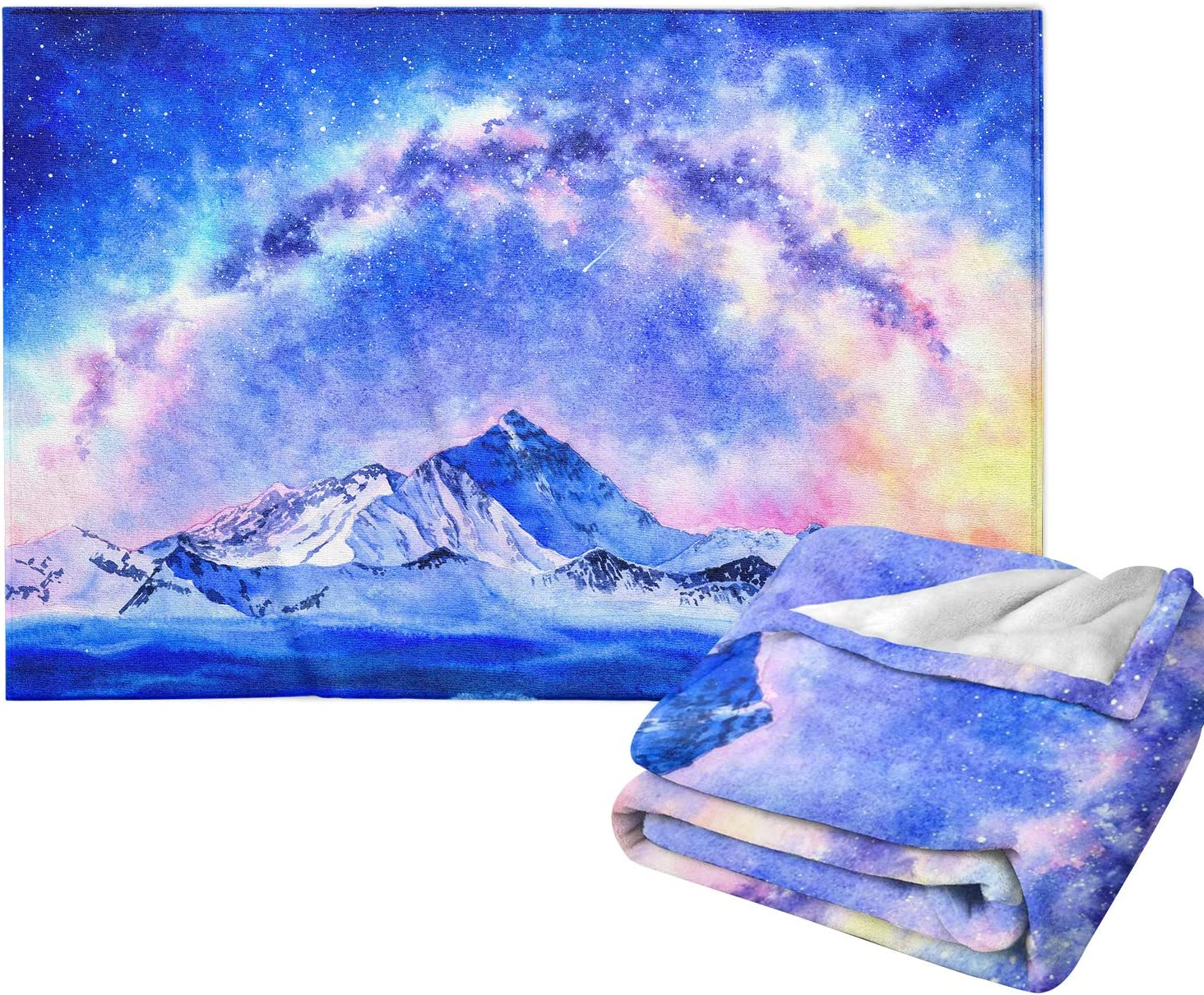 JASMODER Throw Blanket Snow Mountain Opening Bargain sale large release sale and Aurora Soft Microfiber