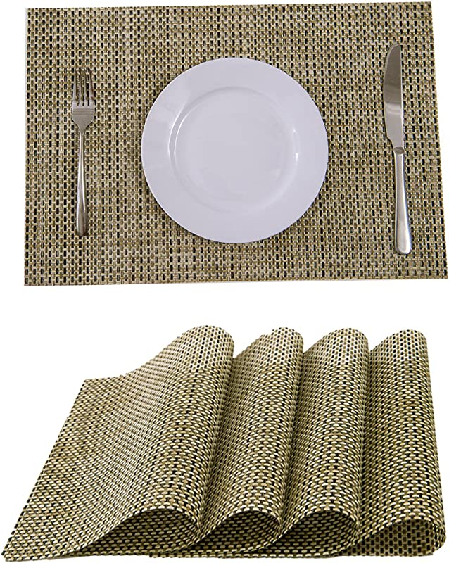 BeautiLife Heat Resistant Placemats Stain PVC Table Mats Diagonal Articles Dining Tableware Pad Mat Set Of 4 Coffee