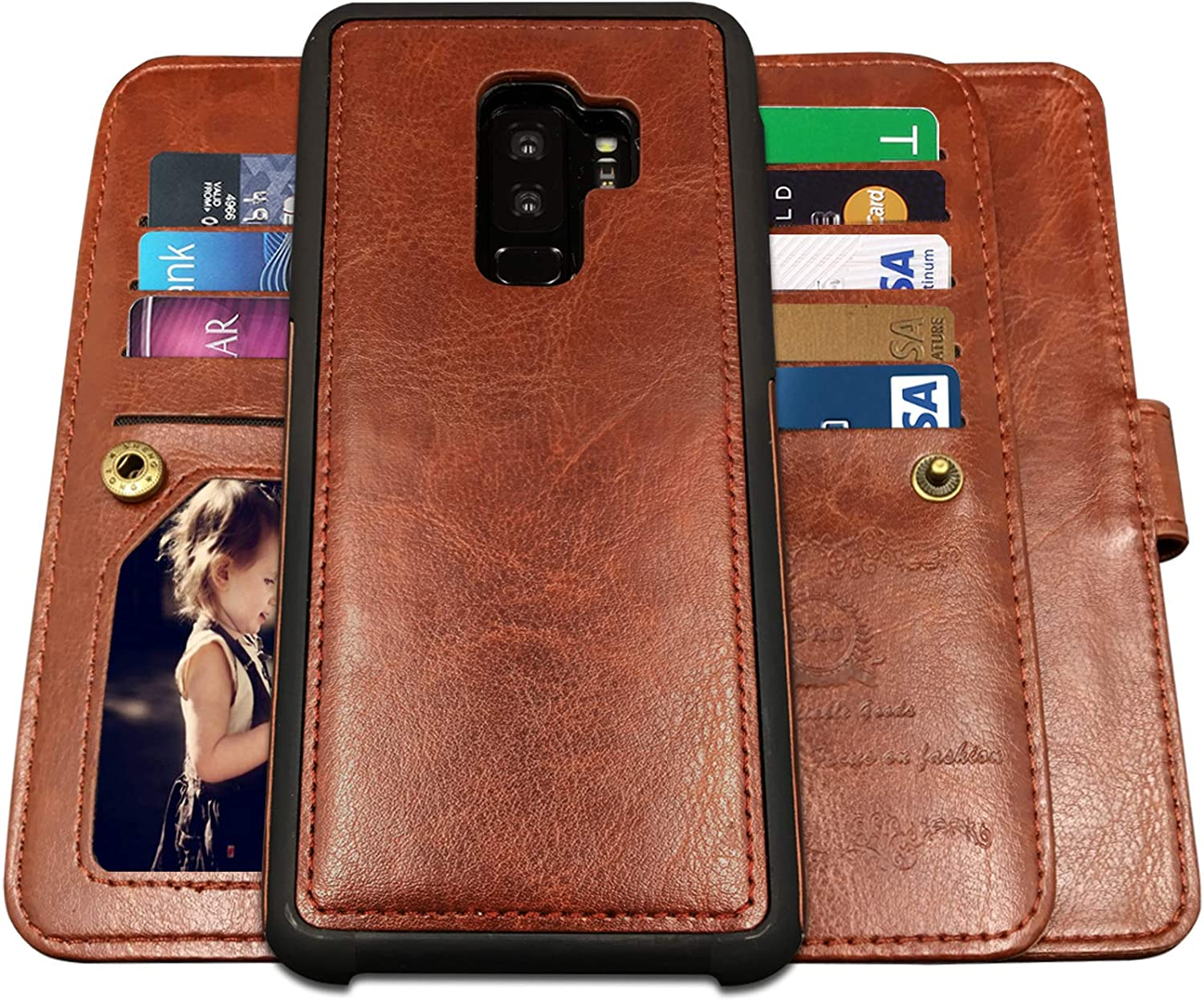 Galaxy S9 Plus Cases,Magnetic Detachable Lanyard Wallet Case with [8 Card Slots+1 Photo Window][Kickstand] for Galaxy S9 Plus, CASEOWL 2 in 1 Premium Leather Removable TPU Case(Brown)