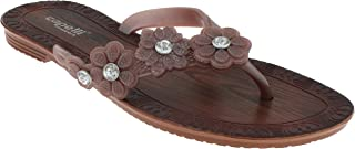 Capelli New York Ladies Fashion Flip Flops with Flower and Gem Trim