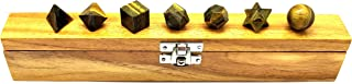 Realcrystalstore Tiger Eye 7 Stones sacred geometry set Platonic solids chakra Balancing W/Wooden Box for Healing Crystals and Stones