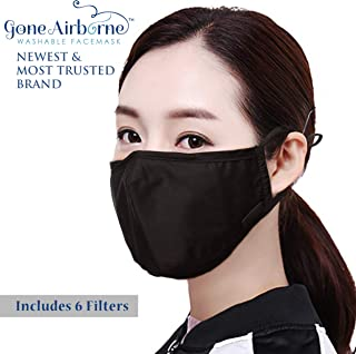 Gone Airborne Anti-Pollution Air Filter Face Mouth Cotton Dustproof N95 Anti-Bacterial Washable Reusable Safety Mask Dust Mask (Black)