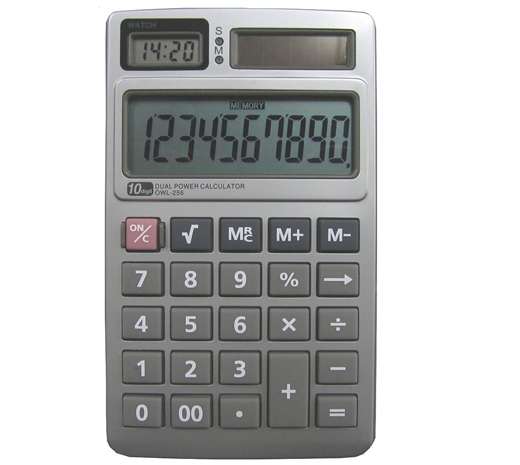 ピアニストスケート差別的時計付 10桁 デュアルパワー電卓