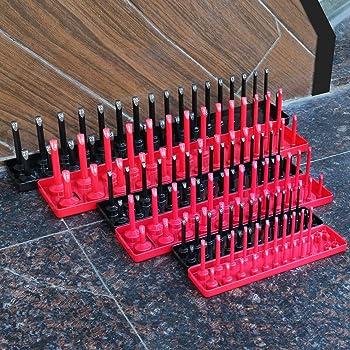 6PCS Socket Organizer Tray Set, Red SAE & Black Metric Socket Storage Trays, 1/4-Inch, 3/8-Inch & 1/2-Inch Drive Deep...
