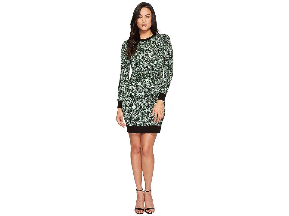 MICHAEL Michael Kors Reptile Print Sweater Dress (Bright Palm/Black) Women