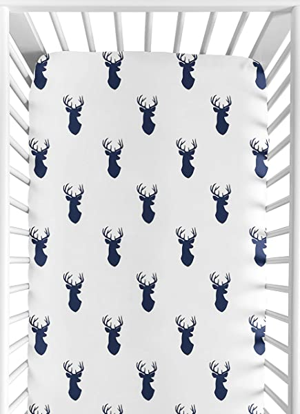 Sweet Jojo Designs Fitted Crib Sheet For Navy And White Woodland Deer Baby Toddler Bedding Set Collection Deer Print