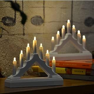 YAKii 7 LED Lights Battery Operated LED Arch Candle Bridge, LED Window Candle for Christmas Decoration, Set of 2