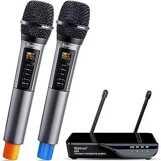 Wireless Microphone With Echo, Treble, Bass & Bluetooth, Uhf Portable Dual Handheld Wireless Karaoke Dynamic Microphone Sy...