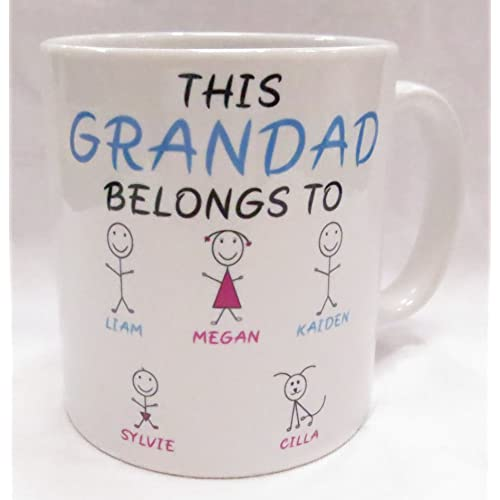 This Grandad belongs to. customisable Mug. Perfect for Father's Day, Birthday, Christmas