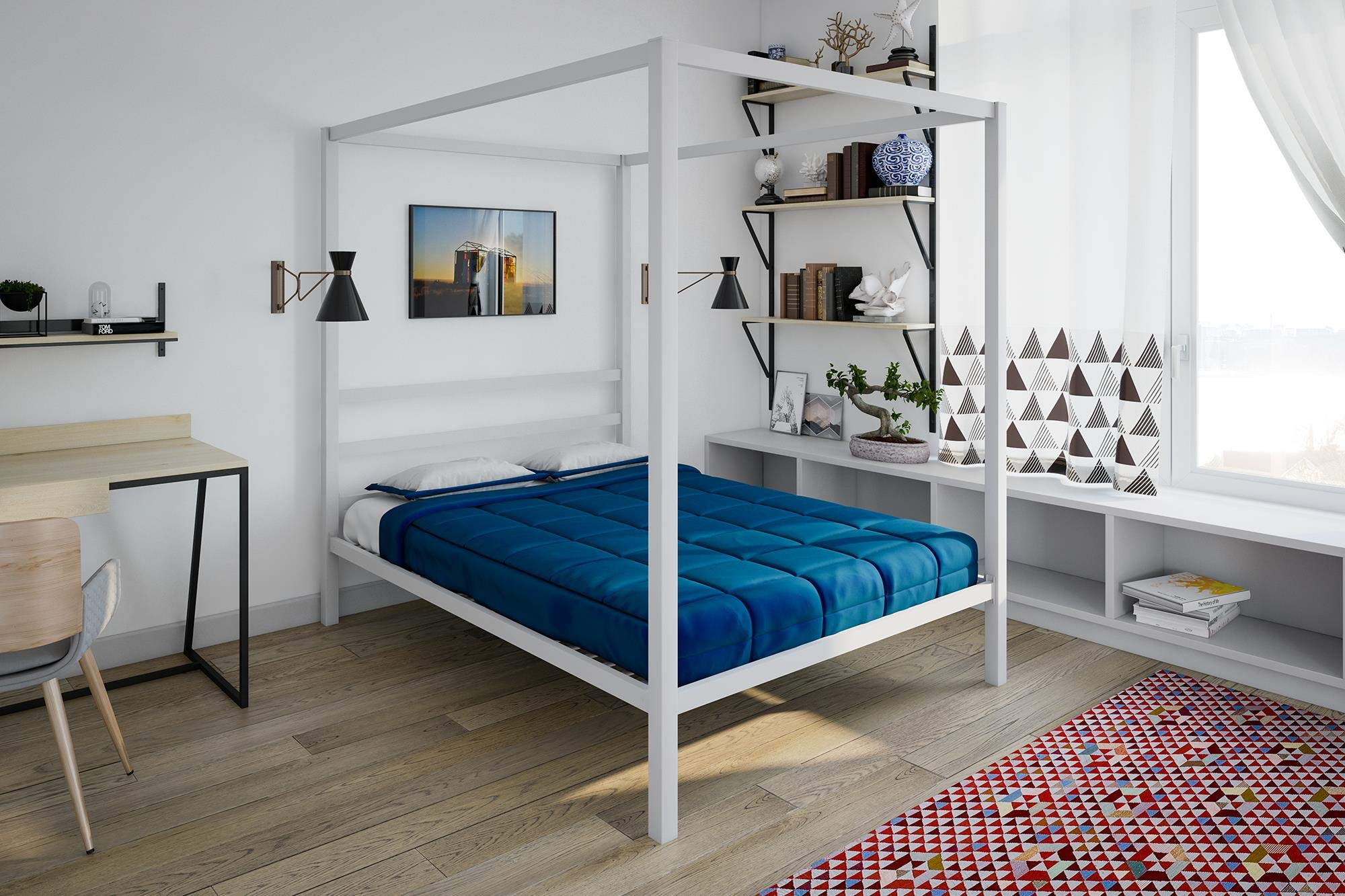 DHP Modern Metal Canopy Bed Full White  sc 1 st  Amazon.com & 4 Poster Bed Frame: Amazon.com
