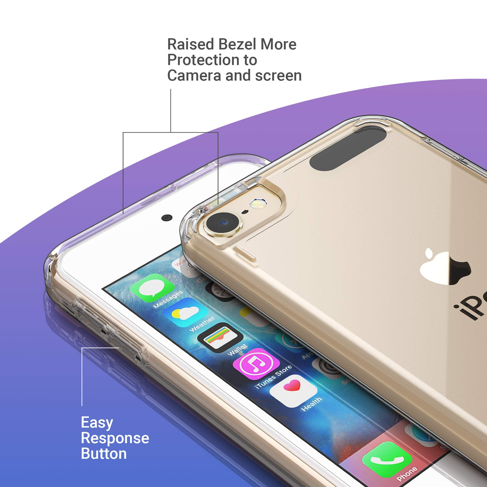 7 TPU Custodia Borsa Guscio Flip Cover Case Nero subtel/® Backcover Compatibile con iPod Touch 5//6