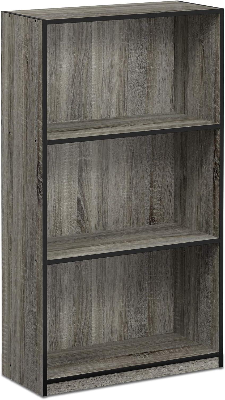 Furinno 99736GYW(BK) Basic 3-Tier Bookcase Storage Shelves, French Oak Grey Black
