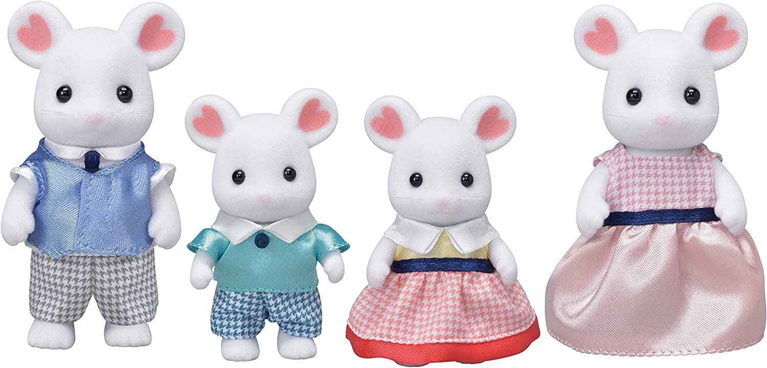 Calico Critters CC1802 Marshmallow Mouse Family Dollhouse Miniatures, 7.62 cm