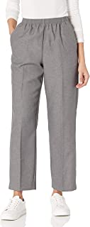 Women's All Around Elastic Waist Polyester Petite Pants...