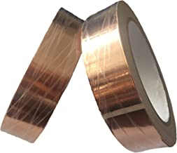 JWtextec Copper Foil Tape Dual Conductivity Conductive Tape 2.5cmX20m Conductive Adhesive Tape Slug Repellent, EMI Shielding, Stained Glass, Paper Circuits, Electrical Repairs