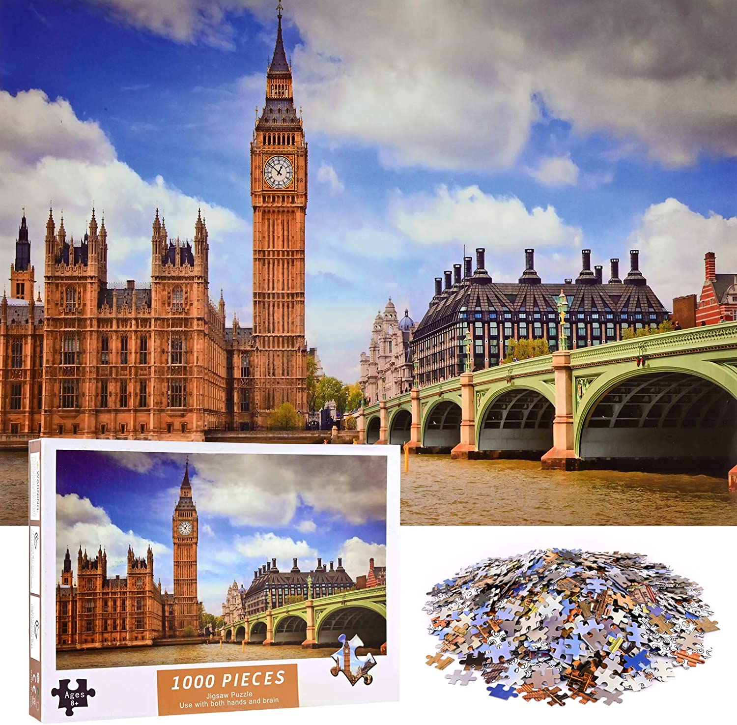 YZ JWL 1000 Pieces Jigsaw Puzzles for Adults 29.53 in x 19.69 in Big Ben Large Jigsaw Puzzle for Educational Gift Home Decor