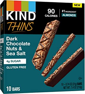 KIND bar Thins, Peanut Butter Dark Chocolate, Gluten Free, 100 Calorie, 60Count