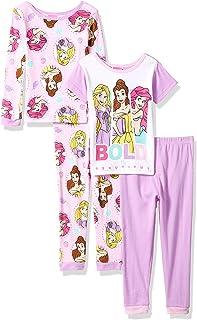 57a1619a7 Disney Girls' Multi-Princess 4-Piece Cotton Pajama Set