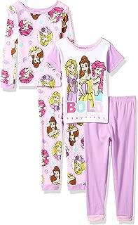 Disney Girls' Multi-Princess 4-Piece Cotton Pajama Set
