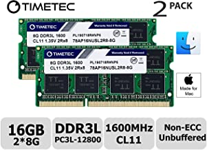 Timetec Hynix IC 16GB KIT(2x8GB) Compatible for Apple DDR3L 1600MHz PC3L-12800 for Early/Mid/Late 2011,Mid/Late 2012, Early/Late 2013, Late 2014, Mid 2015 MacBook Pro, iMac, Mac Mini (16GB KIT(2x8GB))