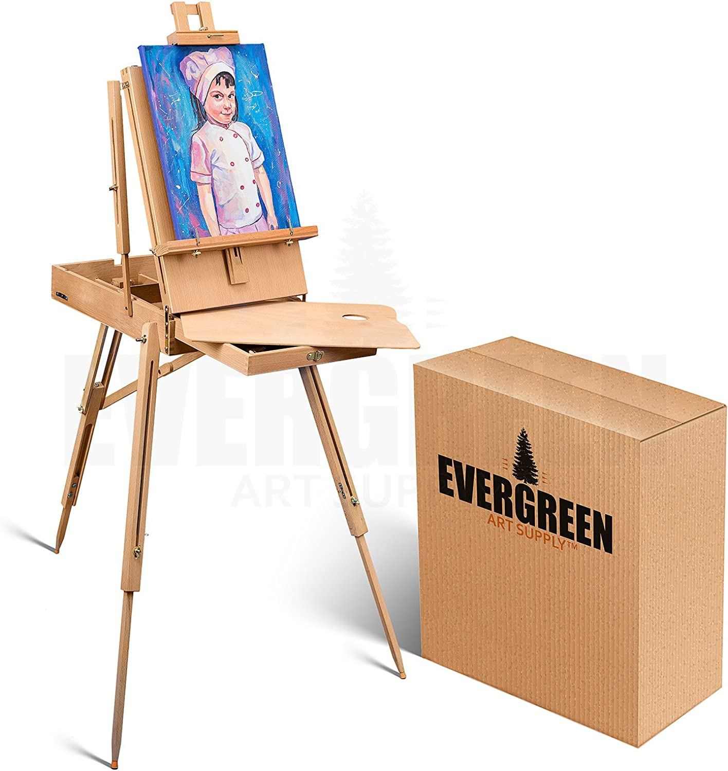 Portable Art Easel for Painting and Drawing - Professional Studio Quality, Adjustable, French Style Wooden Artist Easel with Storage Drawer Sketchbox - Indoor Outdoor Field Easel for Adults