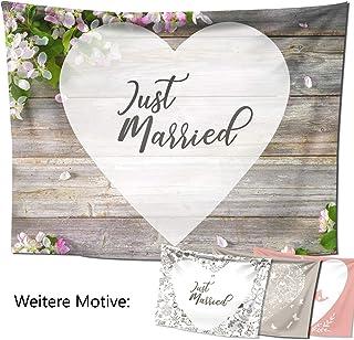 Hochzeitslaken – Hochzeitsherz zum Ausschneiden, als Hochzeitsspiel fürs Brautpaar beim Standesamt, Großes Motiv 240x180 cm, Blütenholz