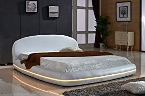 Container Furniture Direct Dylan Collection Modern Upholstered Faux Leather Platform Bed with Headboard and Multi-Color LED Lighting, Eastern King, White