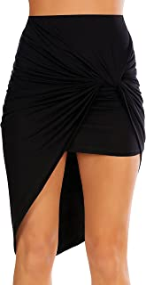 Womens Drape Up Stretchy Asymmetrical High Low Short Mini Bodycon Pencil Skirt