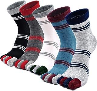 LOFIR, Calcetines con Dedos Separados para Hombre Calcetines 5 Dedos, Calcetines de Algodón de Deporte para Niños, Talla 39-44/45-48, 5 pares