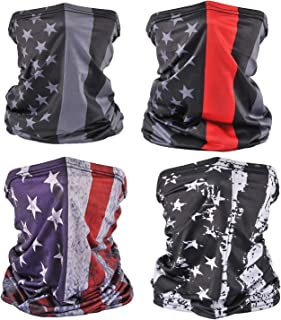 4 Pack American Flag Face Bandana Neck Gaiter Sun UV Protection Face Scarf Cover Balaclava for Running Hiking Fishing