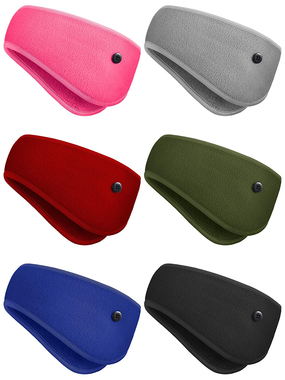 6 Pieces Ear Warmer Headband Button Headband Winter Ear Cover Winter Sports Headband Full Cover Ear Muff Headband for Yoga Outdoor Sports (Black, Gray, Sapphire Blue, Rose Red, Red, Army Green)
