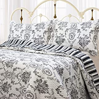 Cozy Line Home Fashions French Medallion Black White Grey Rose Flower Pattern Printed 100% Cotton Bedding Quilt Set Reversible Coverlet Bedspread for Women Men (Black White, Queen - 3 Piece)