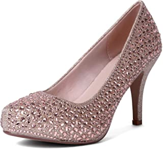 EMERCLY Women's Round Toe Sparkly Rhinestones High Heel Classy Stiletto Pumps Dress Shoes