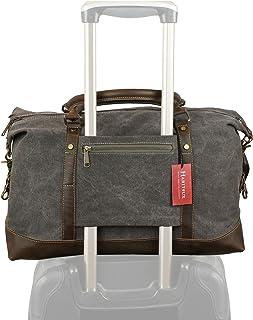 Weekender Duffel Bag Travel Tote - Canvas Genuine Leather Overnight Bag (Grey, Medium)